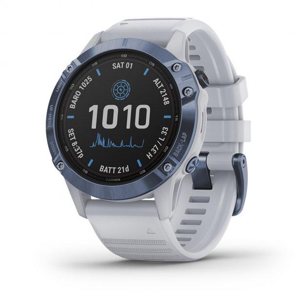 Garmin - Fenix 6 Pro Solar Multisport GPS Ur (Hvid)