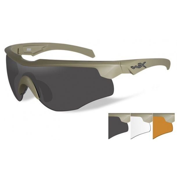 Wiley X - ROGUE Skydebriller Sand - 3 Linser