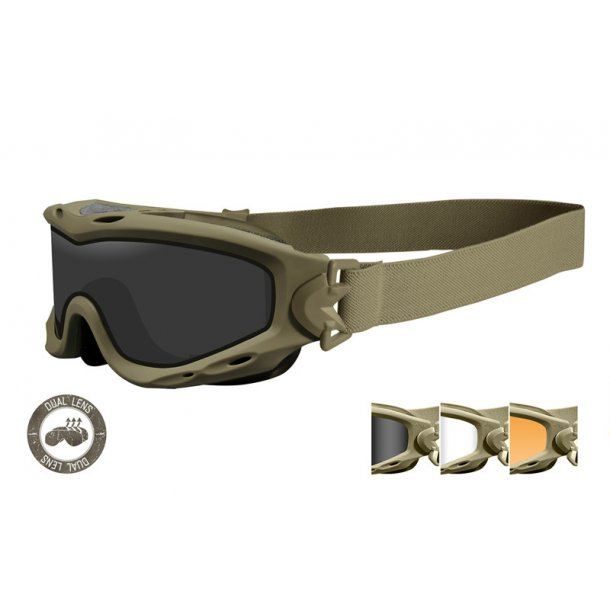 Wiley X - SPEAR Dual Mat Sand Goggles Smoke/Clear/Rust (3 linser)