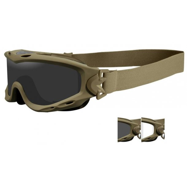 Wiley X - Mat Sand SPEAR Goggles Smoke/Clear (2 linser)
