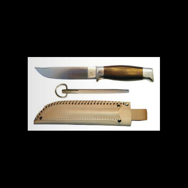 Vangedal - Slirekniv i læderskede m. sikring og strygestål