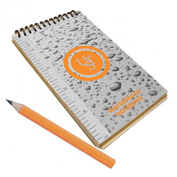 UST - Vandtæt notesblok m. blyant 13,3 x 7,6 cm